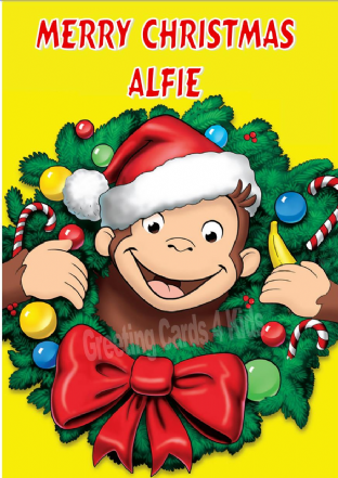 Personalised Curious George Christmas Card